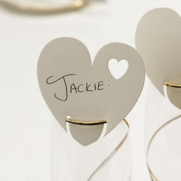 Ivory Heart Place Cards For On Glasses (10)